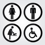 Schwarzes Kreis-Toiletten-Zeichen mit schwarzer Kreis-Grenze, Mann-Zeichen, Frauen-Zeichen, Baby-änderndes Zeichen, Handikap-Zeic Lizenzfreies Stockbild