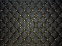 Schwarzes ledernes Muster mit goldenem Draht und Edelsteinen stockfotos