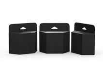 Schwarzes leeres Paralleltrapezkasten Tinten-Patronen-Paket mit dem Abschneiden von p Lizenzfreie Stockfotografie