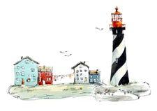 Schwarzes Leuchtfeuer auf der Insel Gezeichnete Illustrationen des Aquarells Hand stock abbildung