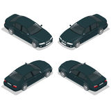 Schwarzes Limousine-Auto Flacher isometrischer Stadttransport-Ikonensatz der hohen Qualität Auch im corel abgehobenen Betrag Lizenzfreies Stockfoto