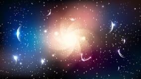 schwarzes Loch der Galaxie spielt Planetenraum-Zusammenfassungshintergrund die Hauptrolle Lizenzfreie Stockfotografie