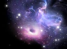 Schwarzes Loch im Nebelfleck stock abbildung
