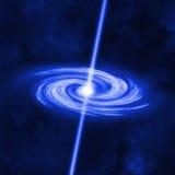 Schwarzes Loch saugt Reste eines Stoff-Sternes auf Stockfoto