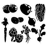 Schwarzes lokalisierte Gemüseschattenbildikonen auf whi Stockfotografie