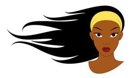 Schwarzes Mädchen mit dem langen Haar Lizenzfreie Stockfotografie