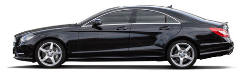 Schwarzes Mercedes-Benz auf einem transparenten Hintergrund Lizenzfreies Stockfoto