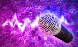 Schwarzes Mikrofon auf einem abstrakten Hintergrund Lizenzfreies Stockfoto