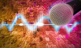 Schwarzes Mikrofon auf einem abstrakten Hintergrund Stockbild