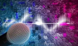 Schwarzes Mikrofon auf einem abstrakten Hintergrund Lizenzfreie Stockfotografie