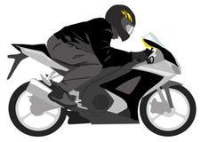Schwarzes Motorrad mit Radfahrer Stockfotografie