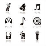 schwarzes Musikal bearbeitet Ikonen stock abbildung