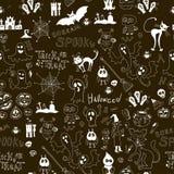 Schwarzes nahtloses Muster Halloweens mit Ikonen Stockfotografie