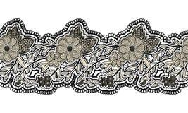 Schwarzes nahtloses Spitzeband auf weißem Hintergrund Nahtlose mit Blumengrenze für Design Stockfotografie