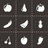 Schwarzes Obst und Gemüse des Vektors Ikonen eingestellt Lizenzfreies Stockbild