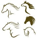 Schwarzes Pferd des Schattenbildes stock abbildung