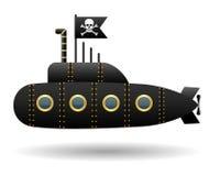Schwarzes Piratenunterseeboot Lustige Roger-Markierungsfahne Weißer Hintergrund Überlagert, einfach zu bearbeiten nachricht Regen vektor abbildung