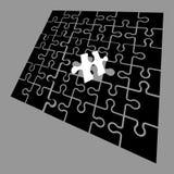 Schwarzes Puzzlespiel mit einem einzigartigen Stück Eins vieler Konzepte Auch im corel abgehobenen Betrag lizenzfreie abbildung