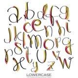 Schwarzes rosa Goldbunte Tinten-Alphabetbuchstaben Hand gezeichnet geschrieben Stockfotos
