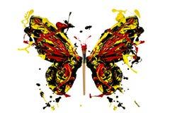 Schwarzes rotes gelbes Farbenspritzen machte Schmetterling Stockfoto