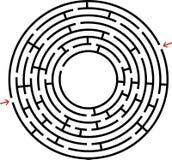 Schwarzes rundes Labyrinth mit einem Platz für Ihre Zeichnung Ein interessantes und nützliches Spiel für Kinder Einfaches flaches lizenzfreie abbildung