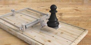 Schwarzes Schachpfand auf einer Mäusefalle auf Bretterboden Abbildung 3D stock abbildung