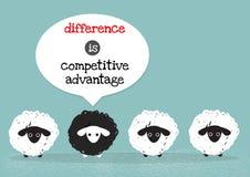 Schwarzes Schaf ist Wettbewerbsvorteil Lizenzfreies Stockbild
