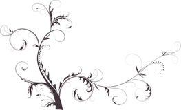 Schwarzes Schattenbild der abstrakten Blume. Stockbild