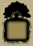 Schwarzes Schattenbild der Eiche mit Wurzeln und Rahmen vektor abbildung