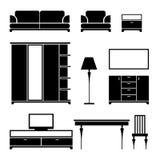 Schwarzes Schattenbild der Möbel auf einem weißen Hintergrund Lizenzfreie Stockfotografie