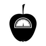 schwarzes Schattenbild des Apfels mit Stamm und Skala stock abbildung