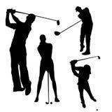 Schwarzes Schattenbild des Golfspielers auf weißem Hintergrund stock abbildung