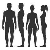 Schwarzes Schattenbild des Mannes und der Frau stock abbildung