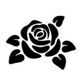 Schwarzes Schattenbild einer Rose Photorealistic Ausschnittskizze stock abbildung