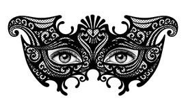 Schwarzes Schattenbild einer venetianischen Maske des dekorativen Karnevals mit fem Stockfotografie
