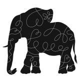 Schwarzes Schattenbild eines großen Elefanten mit einem Muster, würdevoll er lizenzfreie abbildung