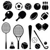 Schwarzes Schattenbild-einfacher Sport-Ausrüstungs-Ikonen-Satz stock abbildung