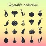 Schwarzes Schattenbild lokalisierter Gemüseikonensatz Stockfoto
