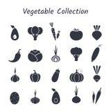 Schwarzes Schattenbild lokalisierter Gemüseikonensatz Lizenzfreie Stockfotografie