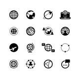 Schwarzes Schattenbild und Linie Ikonen von Planeten und von Erde Globale Kommunikation und Sozialikonen Gänge 3d Die Vorlage bet Stockbild