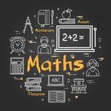 Schwarzes Schulkonzept mit Mathe-Thema stock abbildung