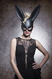 Schwarzes, sexy Kaninchen Lizenzfreie Stockfotografie