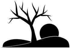 Schwarzes stilisierter Baum lokalisiert Lizenzfreies Stockfoto