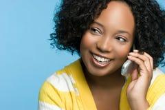 Schwarzes Telefon-Mädchen stockfotos