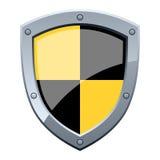 Schwarzes u. gelbes Sicherheits-Schild Stockfoto