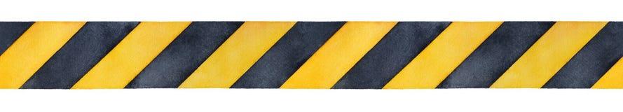 Schwarzes und gelbes Aquarellstreifenband stock abbildung