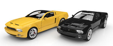 Schwarzes und gelbes Auto Stockbild