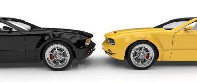 Schwarzes und gelbes Auto Stockfoto