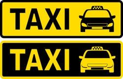 Schwarzes und gelbes Taxizeichen Stockbild