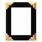 Schwarzes und Gold gestalteter Bilderrahmen mit Pfad Stockfoto
